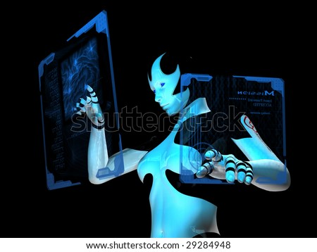 cyborg checking mission parameters on floating holo-graphic touch panel computer interface :P - stock photo