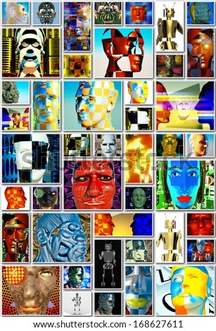 Cyborg collage - with many cyborg busts - stock photo