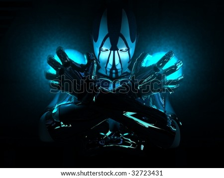 cyborg crossing arms holding two energy charges - stock photo