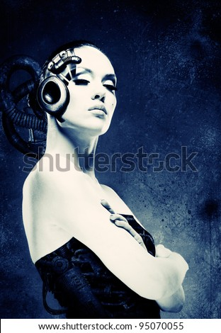 Cyborg Dreams. Adult pretty woman stylish portrait. - stock photo