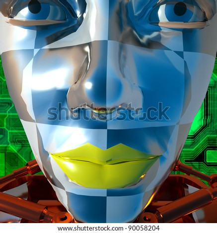 Cyborg face - stock photo