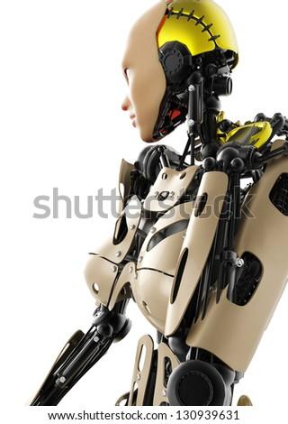 cyborg girl cool pose - stock photo