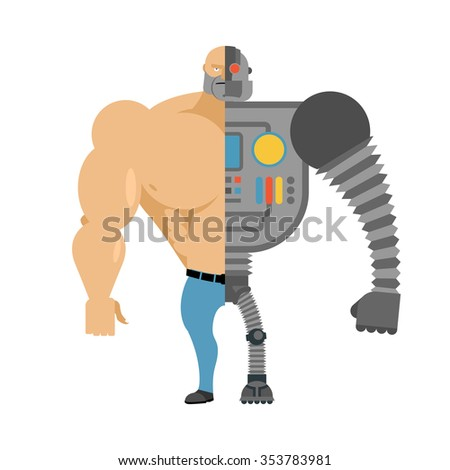 Cyborg. Half human half robot. Man with big muscles and iron limbs. Cyber-man of future. - stock photo
