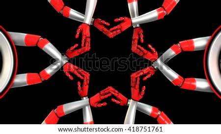 CYBORG HANDS NETWORK 3D ILLUSTRATION. Perfect visual 3D illustration for any book cover, motivational, commercial and advertising board. Can be also suitable for art projects, banner or web design. - stock photo