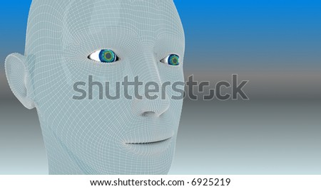 Cyborg head, technology background, electric wires on the face - stock photo