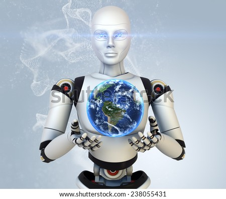 Cyborg holdings the Earth in his hands. Elements of this image furnished by NASA  - stock photo