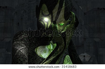 cyborg holds her face - stock photo