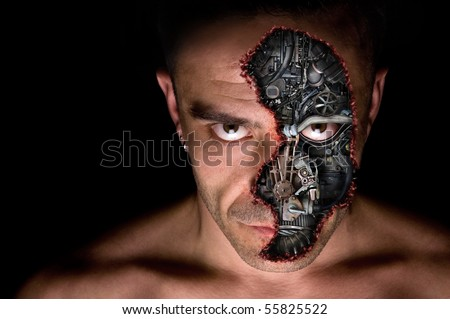 Cyborg humanoid portrait - stock photo