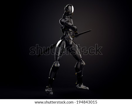 Cyborg ninja / Robot warrior gets a sword out Dark background
