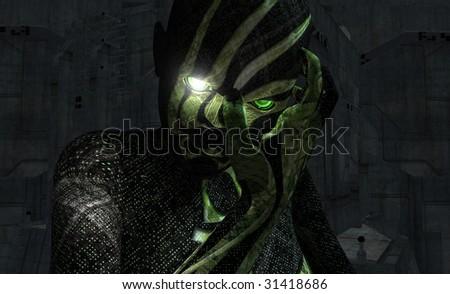 cyborg portrait - stock photo