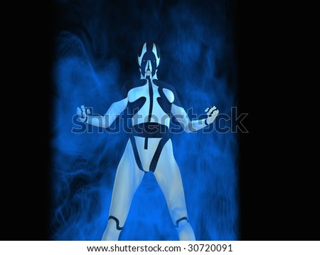 cyborg power up - stock photo