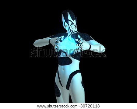 cyborg powers up energy charge and grins - stock photo