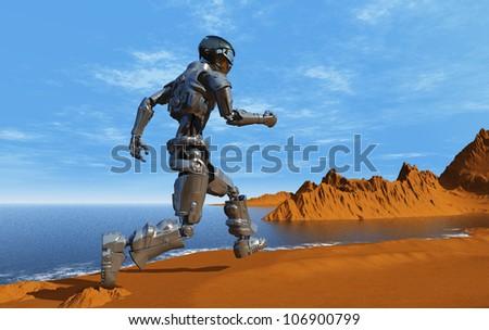 Cyborg runs along the beach. - stock photo