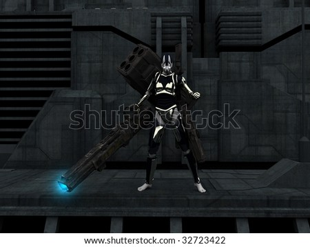 cyborg soldier equipped with weaponry - stock photo