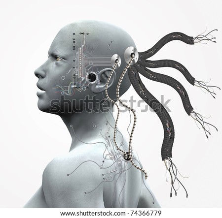 Cyborg with cables and circuits - stock photo