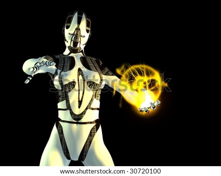 cyborg with energy charge - stock photo