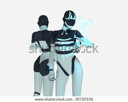 cyborg with holographic computer - stock photo