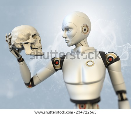 Cyborg with human skull in his hand - stock photo