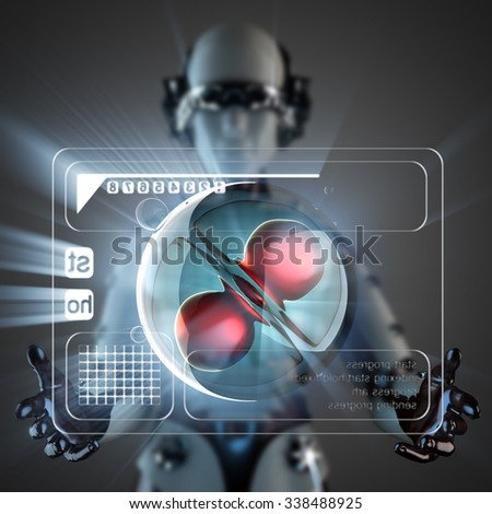 cyborg woman and cell on hologram display - stock photo
