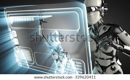 cyborg woman and hologram display - stock photo