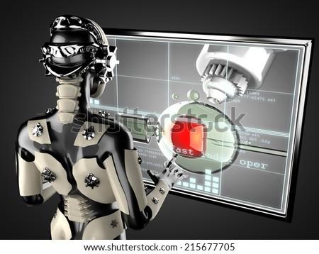 cyborg woman manipulating hologram display - stock photo