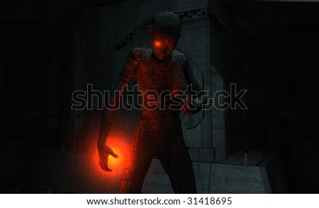 cyborg woman with inguries - stock photo