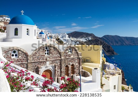 Cycladic village of Oia, Santorini, Greece - stock photo