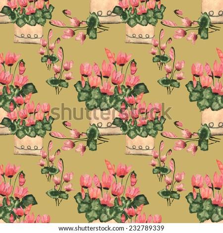 cyclamen flowers seamless pattern - stock photo