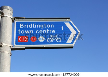 Cycle directional sign in Bridlington, East Yorkshire, UK - stock photo