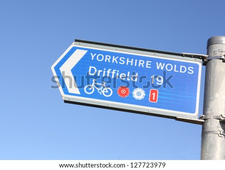 Cycle directional sign to the Yorkshire Wolds and Driffield from Bridlington, East Yorkshire, England. - stock photo
