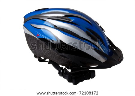 Cycle helmet isolated on white - stock photo