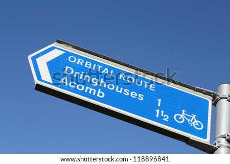 Cycle route directional sign in York, England