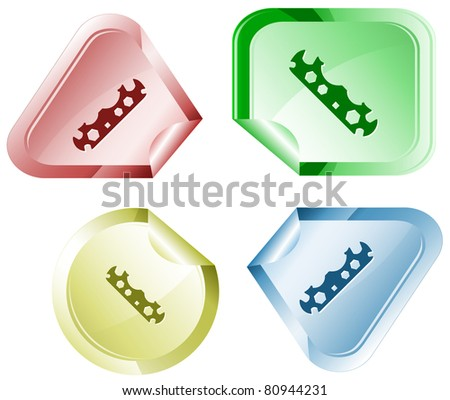 Cycle spanner. Stickers. Raster illustration. Vector version is in my portfolio. - stock photo