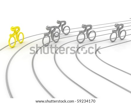 Cycling competition. On white surface. Computer graphics - stock photo