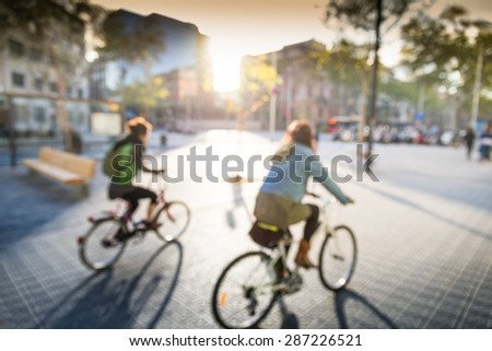 cycling in city - stock photo