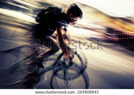 Cycling in New York City - stock photo