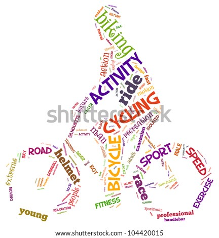 cycling info-text graphics and arrangement concept (word cloud) - stock photo