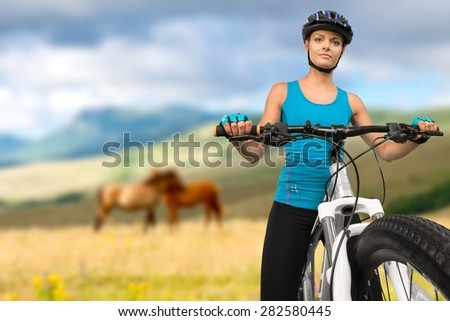 Cycling, Mountain Bike, Isolated. - stock photo