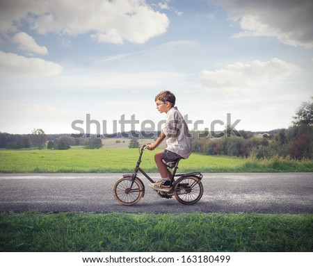 Cycling on a Beautiful Day - stock photo