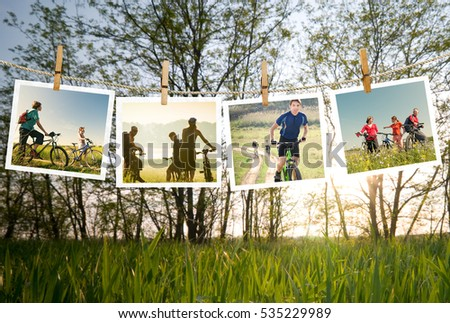 cycling outdoors collage
