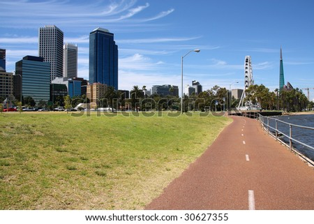 Cycling path and summer cityscape of Perth, Western Australia