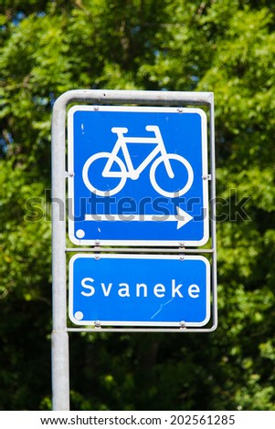 Cycling sign with direction, Bornholm, Denmark