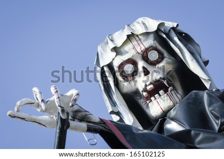 cycling skeleton at a ghost train - stock photo