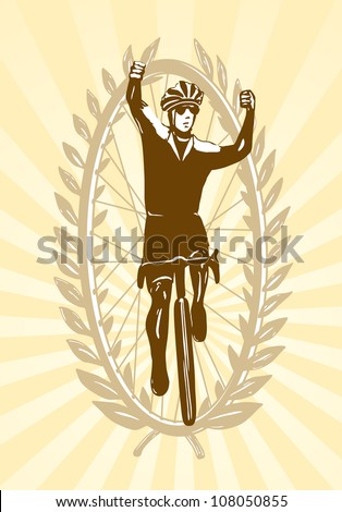 Cyclist celebrating his win, victory, laurels in background - stock photo