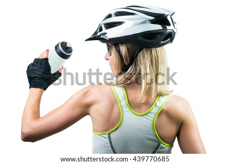 Cyclist drinking water. Concept Winning in sports. Isolated on white background - stock photo