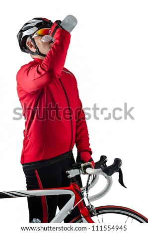 Cyclist drinking water isolated on white background. - stock photo
