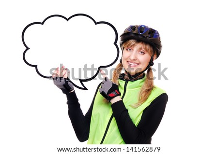 cyclist girl pointing to the blank as speaking bubble - stock photo