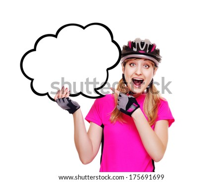 cyclist girl pointing to the speaking bubble blank - stock photo