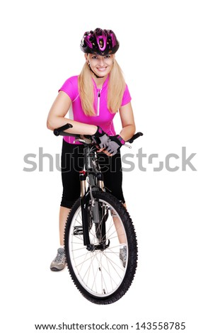 cyclist girl with the bicycle  full length isolated on white