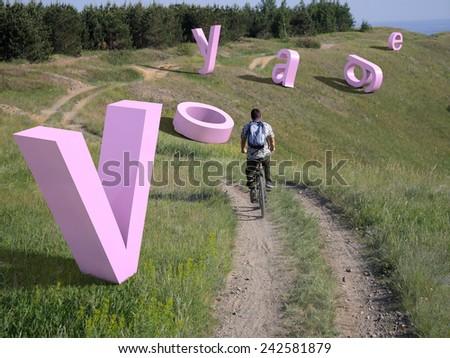 Cyclist journey - stock photo
